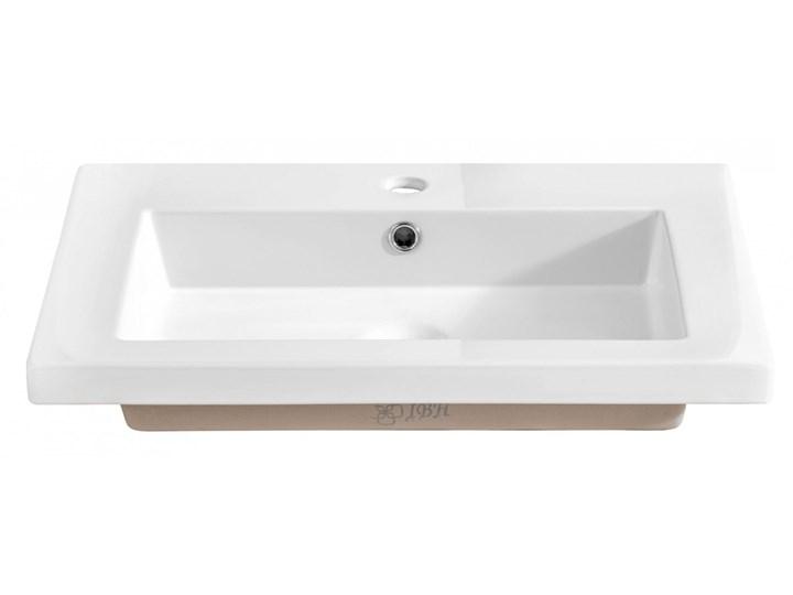 Prostokątna umywalka ceramiczna Vermona 60 CM - Biała Wpuszczane Prostokątne Kolor Biały Ceramika Kategoria Umywalki