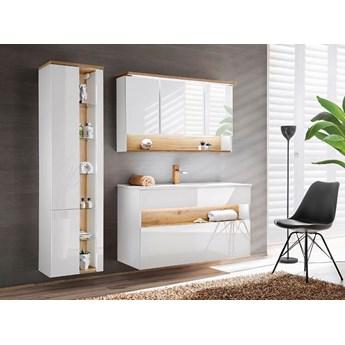 Zestaw mebli łazienkowych z oświetleniem LED Monako 3Q 120 cm - Biały połysk