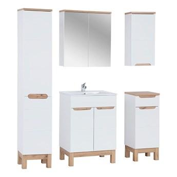 Zestaw mebli łazienkowych z koszem Marsylia 3Q 60 cm - Biały połysk