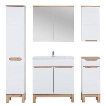 Zestaw mebli łazienkowych z koszem Marsylia 3Q 80 cm - Biały połysk