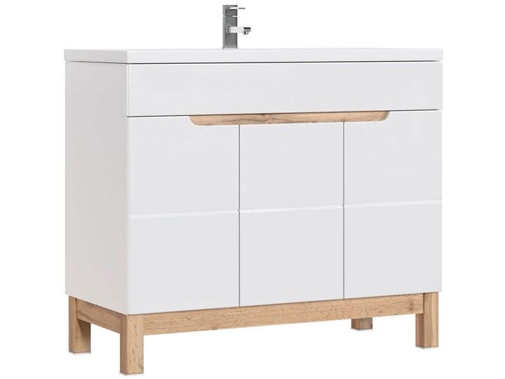 Szafka lazienkowa pod umywalkę Marsylia 8X - Biały połysk Wysokość 84 cm Kategoria Szafki stojące Stojące Szerokość 100 cm Kolor Beżowy