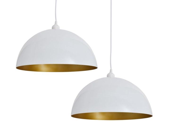 Białe regulowane lampy wiszące 2 sztuki - E985-Noris Kolor Brązowy Metal Lampa z kloszem Styl Skandynawski