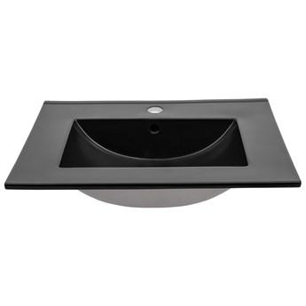 Czarna ceramiczna umywalka prostokątna - Aviso 80 cm