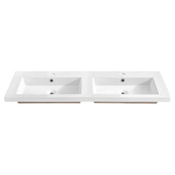 Podwójna biała umywalka ceramiczna 120 cm - Avio