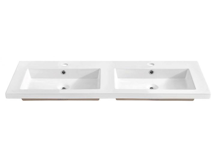Podwójna biała umywalka ceramiczna 120 cm - Avio Prostokątne Wpuszczane Ceramika Kolor Biały