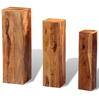Komplet kwietników z drewna sheesham - Nadil