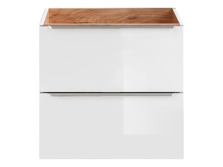 Podwieszana szafka łazienkowa pod umywalkę - Malta 3X Biały połysk 60 cm Wiszące Szafki Wysokość 57 cm Kolor Beżowy