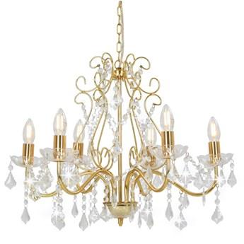 Złoty żyrandol kryształowy stylizowany na świecznik - EX97-Melos