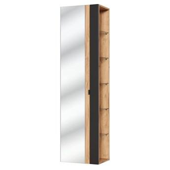 Pionowa podwieszana szafka łazienkowa z lustrem - Malta 6X Czarny mat