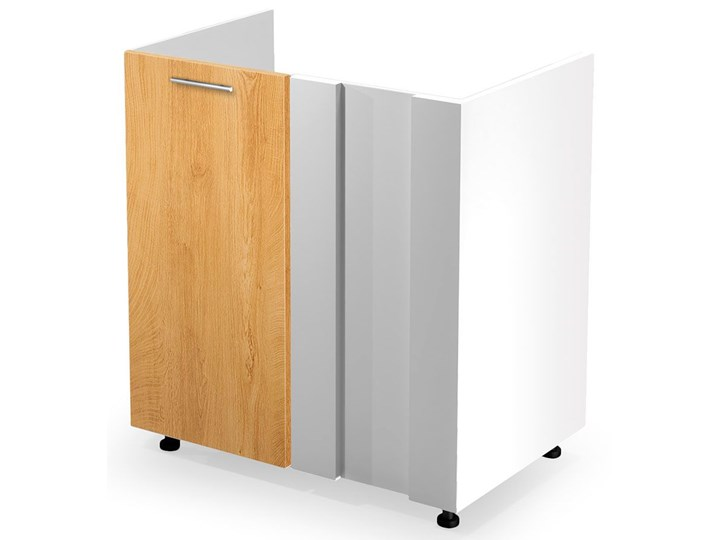 Kuchenna narożna szafka zlewozmywakowa dąb miodowy - Limo 16X Drewno Szafka narożna Kolor Biały