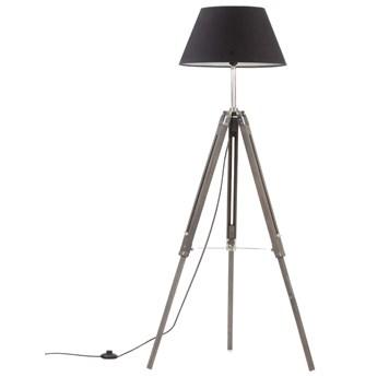 Szaro-czarna lampa stojąca drewniana trójnóg - EX199-Nostra