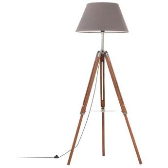 Brązowo-szara drewniana lampa podłogowa stojąca - EX199-Nostra