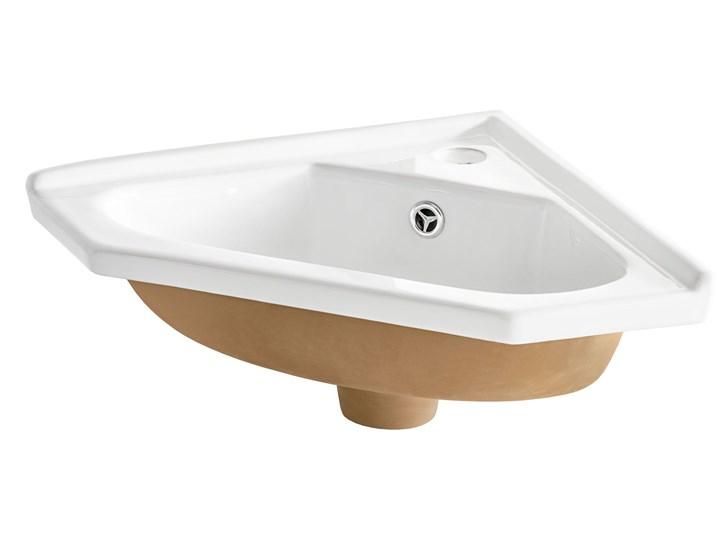 Narożna ceramiczna umywalka meblowa biała - Tamis Kwadratowe Meblowe Narożne Ceramika Kolor Biały
