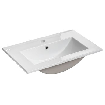 Biała prostokatna ceramiczna umywalka - Ravos 60 cm