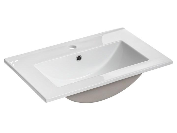Biała prostokatna ceramiczna umywalka - Ravos 60 cm Kwadratowe Meblowe Ceramika Kolor Biały Kategoria Umywalki