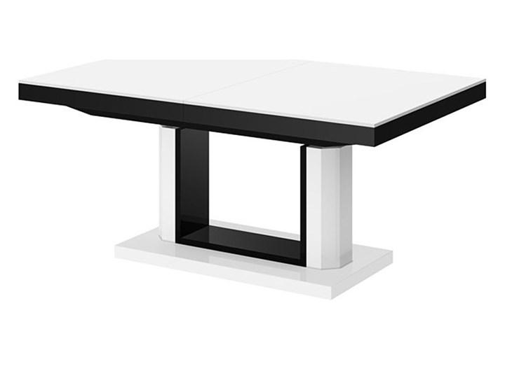 Rozkładany ławostół biało czarny połysk - Havier 3X Wysokość 56 cm Szerokość 75 cm Płyta MDF Styl Glamour