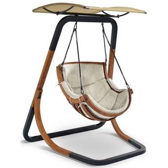 Beżowy fotel wiszący z daszkiem - Pasos 3X