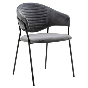 Szare krzesło tapicerowane z metalową podstawą - Nemo 2X