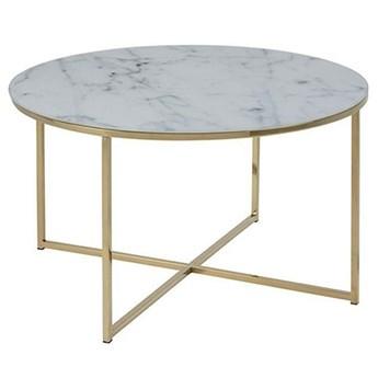 Biały stolik kawowy z złotą podstawą - Nodino 5X