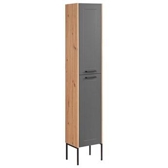 Grafitowa pionowa industrialna szafka łazienkowa  - Saloma 2X