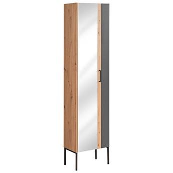 Grafitowy industrialny słupek łazienkowy z lustrem - Saloma 4X