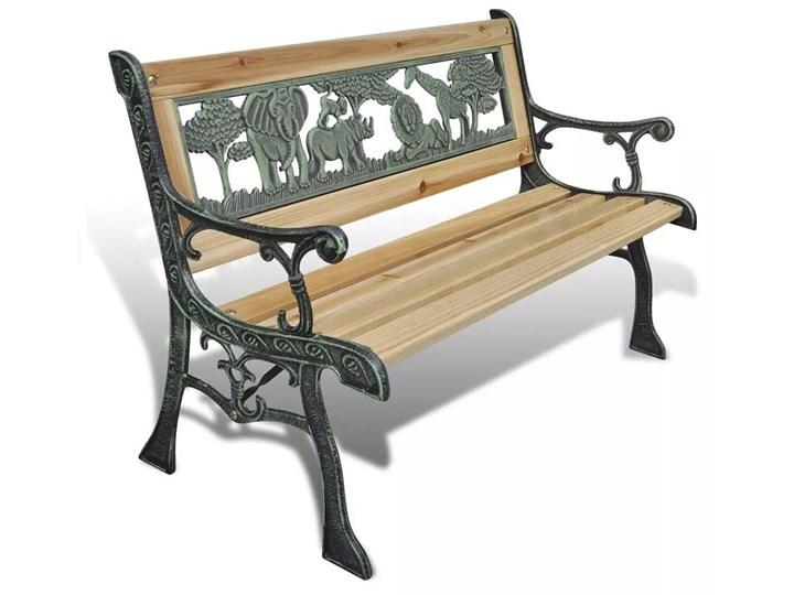 Drewniana ławka ogrodowa dla dzieci Ponter - brązowa Drewno Długość 84 cm Z oparciem Kategoria Ławki ogrodowe