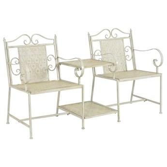 Metalowa ławka ogrodowa ze stolikiem Gamma 2X - biała
