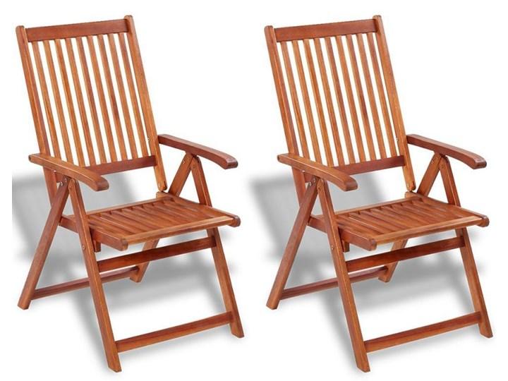 Drewniane krzesła ogrodowe Pasadena 2 szt Drewno Krzesło z podłokietnikami Kolor Brązowy Krzesło składane Styl Rustykalny