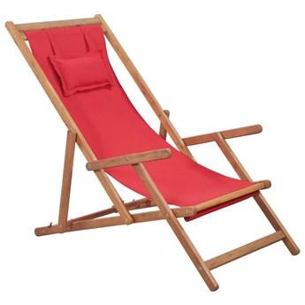 Czerwony składany leżak plażowy - Inglis