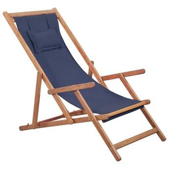 Granatowy drewniany leżak plażowy - Inglis