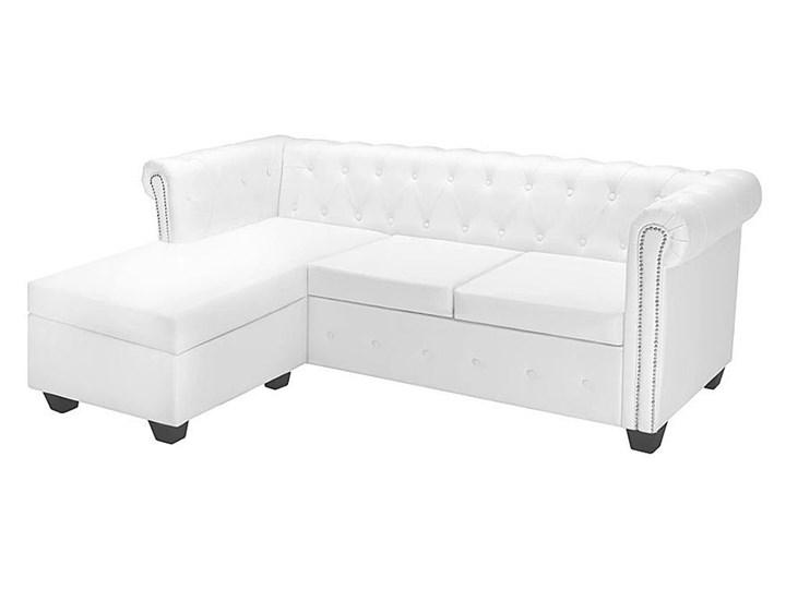 Biały narożnik z leżanką w stylu Chesterfield, lewostronny - Charlotte 4Q
