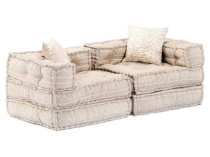 Dwuosobowa beżowa sofa modułowa - Demri 3D Typ Gładkie Szerokość 70 cm Modułowe Rozkładanie Rozkładana