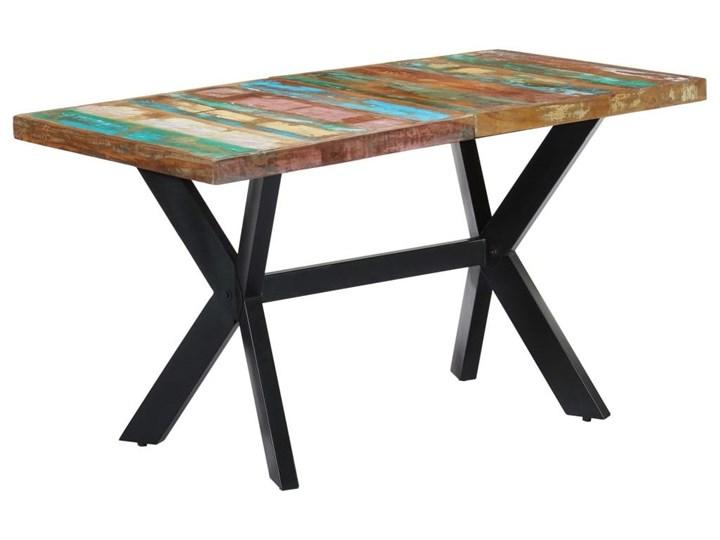 Wielokolorowy stół z drewna odzyskanego – Kalis 3X Drewno Szerokość 70 cm Długość 140 cm  Długość 70 cm Wysokość 75 cm Kształt blatu Prostokątny Kategoria Stoły kuchenne