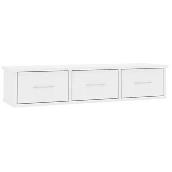 Półka ścienna z szufladami Toss 3X - biały połysk