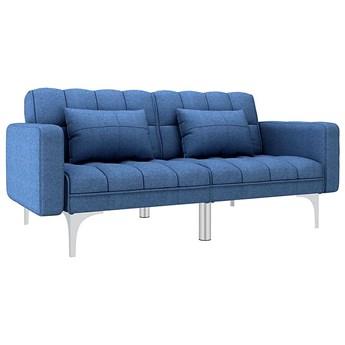 Rozkładana niebieska kanapa z poduszkami - Harris