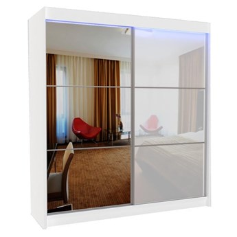 Szafa przesuwna Greta 4X - biała lacobel lustro