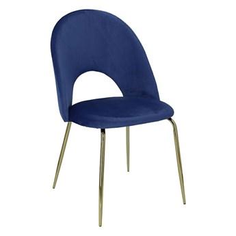 Glamour krzesło tapicerowane welurowe Kally - niebieskie
