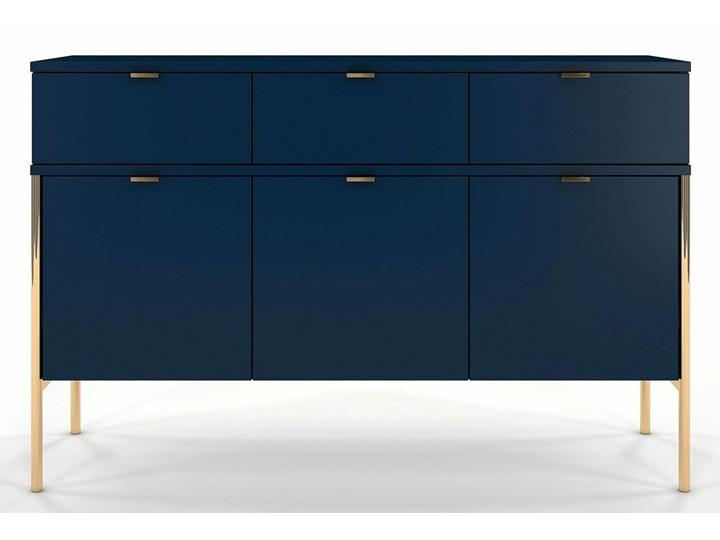 Komoda w stylu glamour Perilla 3X - Granat Z szafkami i szufladami Kategoria Komody Wysokość 78 cm Szerokość 120 cm Kolor Granatowy