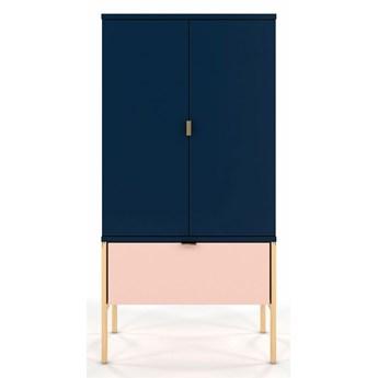 Wysoka komoda w stylu glamour Perilla 4X - Granat-Róż