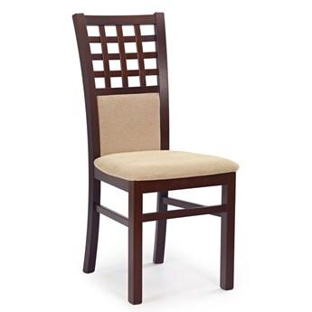 Stylowe drewniane krzesło tapicerowane Eddie - Ciemny orzech