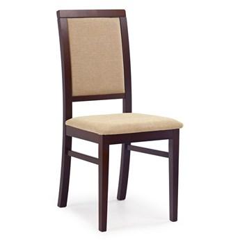 Drewniane krzesło tapicerowane Prince - Ciemny orzech + beż