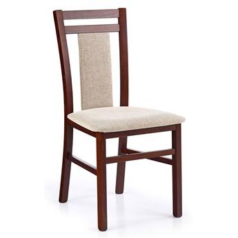 Drewniane krzesło tapicerowane Thomas - Ciemny orzech