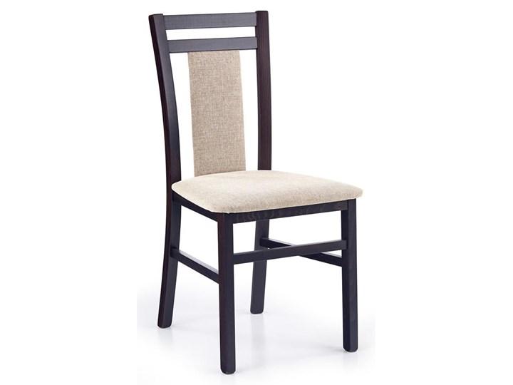 Drewniane krzesło tapicerowane Thomas - Wenge Szerokość 45 cm Kolor Biały Tkanina Drewno Wysokość 90 cm Kolor Beżowy