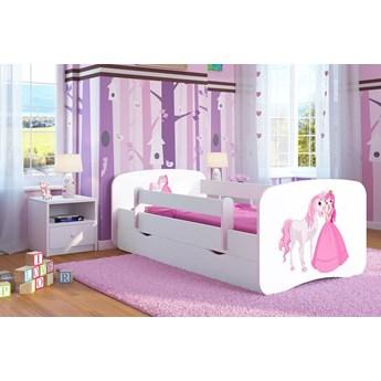 Łóżko dla dziewczynki z materacem Happy 2X mix 70x140 - białe