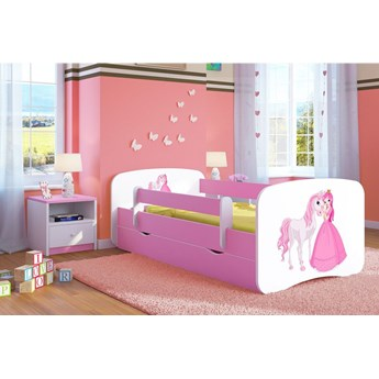Łóżko dla dziewczynki z szufladą Happy 2X mix 70x140 - różowe