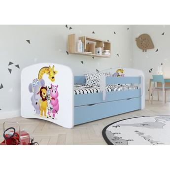 Łóżko dla chłopca z barierką Happy 2X mix 80x160 - niebieskie