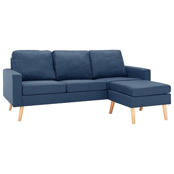 3-osobowa niebieska sofa z podnóżkiem - Eroa 4Q
