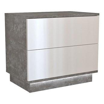 Loftowa szafka nocna Aleva 3X - beton+biały połysk