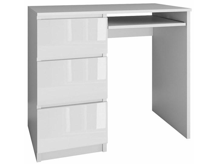 Nowoczesne biurko komputerowe lewostronne Blanco 3X - biały połysk