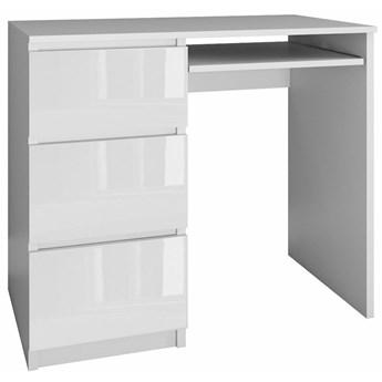 Młodzieżowe biurko lewostronne Blanco 3X - biały połysk